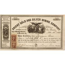 CA - Inyo,Tulare County - October 13, 1863 - Orient Gold and Silver Mining Company Stock