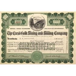 CA - Inyo County,1910 - Crest Gold Mining and Milling Company Stock Certificate