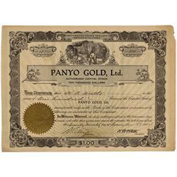 CA - Inyo County,December 29, 1934 - Panyo Gold, Ltd., Stock - Gil Schmidtmann Collection