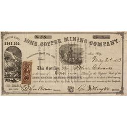 CA - Ione City,Amador County - May 30, 1863 - Ione Copper Mining Company Stock