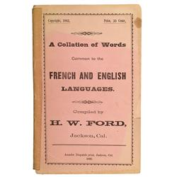 CA - Jackson,Amador County - 1883 - Collation of Words, French and English
