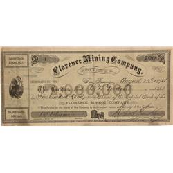 CA - Klamath County,August 22, 1874 - Florence Mining Company, Stock
