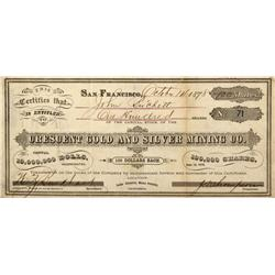CA - Mammoth,Mono County - 1878 - Crescent Gold and Silver Mining Co. Stock Certificate