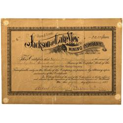 CA - Lundy, Mono County - January 5, 1893 - Jackson and Lake View Mining Company Stock Certificate