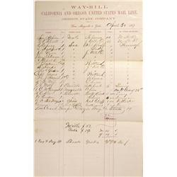 CA - Marysville,Yuba County - April 30, 1867 - California and Oregon United States Mail Line Way-Bil