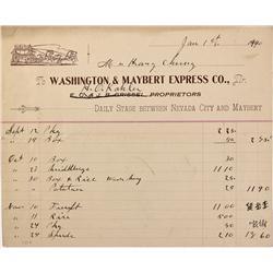 CA - Maybert,Nevada County - January 1, 1900 - Washington & Maybert Express Co. Billhead - Mueller C