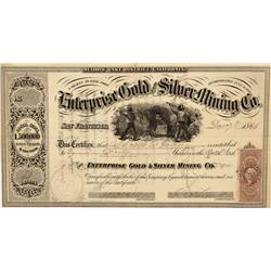CA - Meadow Lake,Decemer 7, 1866 - Enterprise Gold and Silver Mining Co., Stock Certificate