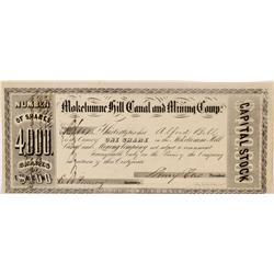 CA - Mokelumne Hill,Calaveras  County - Pre-1853 - Mokelumne Hill Canal and Mining Camp, Stock Certi