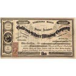CA - Monterey County,March 28, 1864 - Soberana Maria and Buena Aventura Gold and Silver Mining Compa