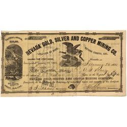 CA - Nevada County,February 26, 1863 - Nevada Gold, Silver and Copper Mining Company, Stock