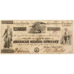 CA - New Almaden,Santa Clara County - 1850 - American Mining Company Stock Certificate - Fenske Coll