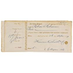 CA - New Almaden,Santa Clara County - April 28, 1879 - Quicksilver Mining Company, Stock Transfer Ce