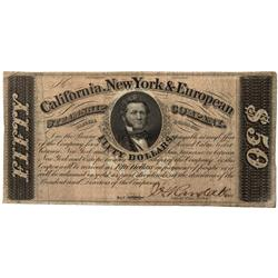 CA - San Francisco,c1858 - California, New York & European Steamship Co. Bank Note