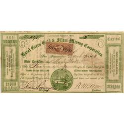 CA - San Francisco,March 12, 1863 - Hazel Green Gold & Silver Mining Corporation, Stock Certificate