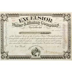 CA - Yuba and Nevada Counties,1879 - Excelsior Water and Mining Co. Stock Certificate
