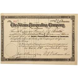 CO - 1899 - Adams Prospecting Company Stock Certificate - Fenske Collection