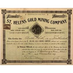 CO - St. Helens Gold Mining Company Stock Certificate - Fenske Collection