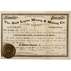 CO - The Gold Legion Mining & Milling Co. of Chicago Stock Certificate
