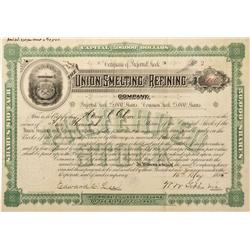 CO - 1885 - Union Smelting and Refining Company Stock Certificate - Fenske Collection