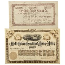CO - Aspen,Pitkin County - 1892, 1894 - Aspen Mining Stock Certificate Group