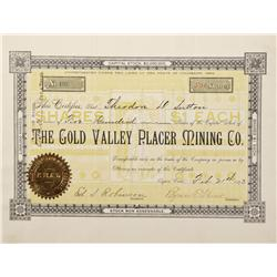 CO - Aspen,Pitkin County - 1893 - Gold Valley Placer Mining Co. Stock Certificate - Fenske Collectio