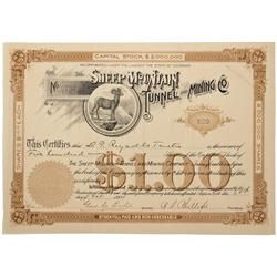CO - Aspen,Pitkin County - 1894 - Sheep Mountain Tunnel and Mining Company Stock Certificate - Fensk
