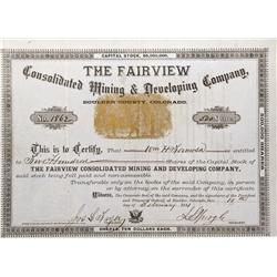 CO - Boulder,Boulder County - 1881 - Fairview Consolidated Mining and Developing Company  Stock Cert