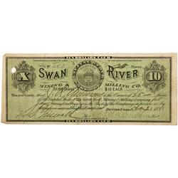 CO - Breckenridge,Summit County - 1881 - Swan River Mining and Milling Co. Stock Certificate - Fensk