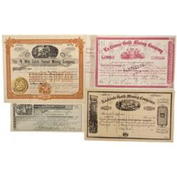 CO - Central City,Gilpin County - 1860-1902 - Central City Stock Certificate Group