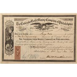 CO - Central City,Gilpin County - 1869 - Colorado Gold Mining Company of Philadelphia Stock Certific