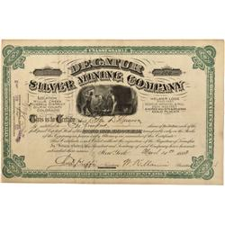 CO - Central City,Gilpin County - 1883 - Decatur Silver Mining Company Stock Certificate