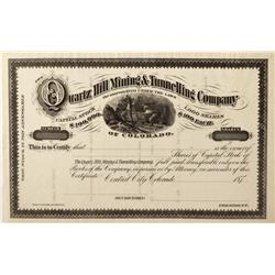 CO - Central City,Gilpin County - c 1870 - Quartz Hill Mining and Tunnelling Company Stock Certifica