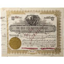CO - Clear Creek County,1900 - Gold Exploration Company Stock Certificate - Fenske Collection
