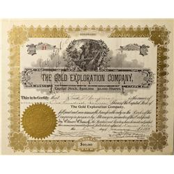 CO - Clear Creek County,1898 - Gold Exploration Company Stock Certificate - Fenske Collection