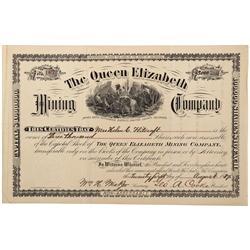 CO - Cottonwood,Chaffee County - 1887 - Queen Elizabeth Mining Company Stock Certificate - Fenske Co