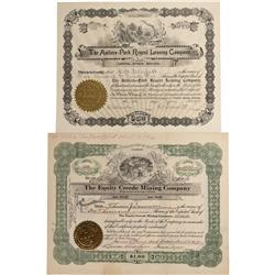 CO - Creede,Mineral County - 1895, 1917 - Creede Stock Certificate Group - Fenske Collection