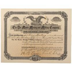 CO - Creede,Mineral County - 1893 - Del Monte Mining and Milling Co.  Stock Certificate - Fenske Col