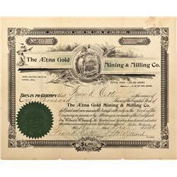 CO - Cripple Creek,Teller County - 1896 - Aetna Cold Mining & Milling Co. Stock Certificate - Fenske