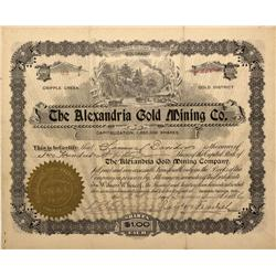 CO - Cripple Creek,Teller County - 1896 - Alexandria Gold Mining Co. Stock Certificate - Fenske Coll