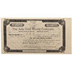 CO - Cripple Creek,Teller County - 1895 - Aola Gold Mining Company Stock Certificate - Fenske Collec