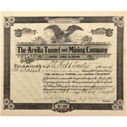 CO - Cripple Creek,Teller County - 1896 - Arvilla Tunnel and Mining Company Stock Certificate - Fens