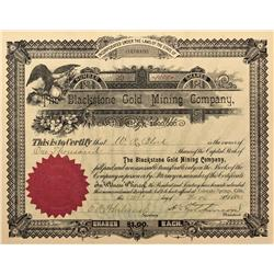 CO - Cripple Creek,Teller County - 1895 - Blackstone Gold Mining Company Stock Certificate - Fenske
