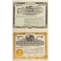 CO - Cripple Creek,Teller County - 1896, 1900 - Carrie S. Gold Mining Company Stock Certificate Grou