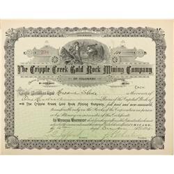 CO - Cripple Creek,Teller County - 1895 - Cripple Creek Gold Rock Mining Company Stock Certificate