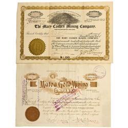 CO - Cripple Creek,Teller County - 1896, 1900 - Cripple Creek Mining District Stock Certificate Grou