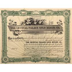 CO - Cripple Creek,Teller County - 1896 - Crystal Palace Gold Mining Company Stock Certificate - Fen