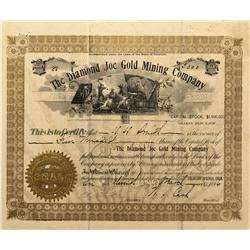 CO - Cripple Creek,Teller County - 1896 - Diamond Joe Gold Mining Company Stock Certificate - Fenske