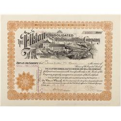 CO - Cripple Creek,Teller County - 1914 - Elkton Consolidated Mining and Milling Company  Stock Cert
