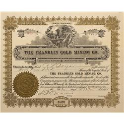 CO - Cripple Creek,Teller County - 1895 - Franklin Gold Mining Co. Stock Certificate - Fenske Collec