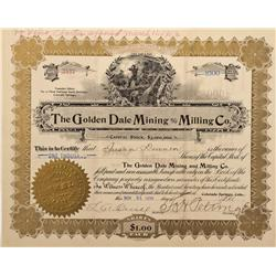 CO - Cripple Creek,Teller County - 1899 - Golden Dale Mining and Milling Co. Stock Certificate - Fen